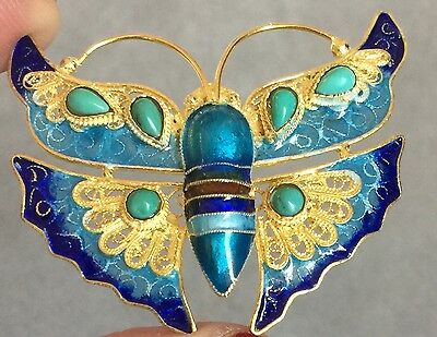 Chinese Turquoise Gilt Silver Enamel Butterfly Pin Pendant