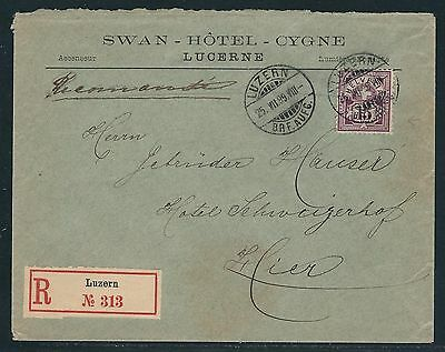 1899 Switzerland #76a on Registered Cover