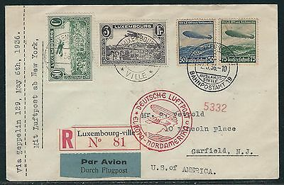 1936 Luxembourg/Germany  Hindenburg Flight Cover – Luxembourgville to New Jersey