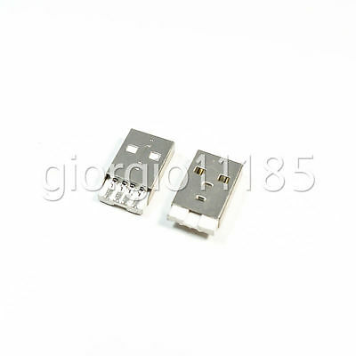 US Stock 10pcs USB A Type Male Plug Solder Jack Connector PCB Mount Socket