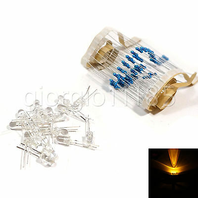 100 pcs LED 3mm Amber Orange Water Clear Ultra Bright With Free 12V DC Resistors