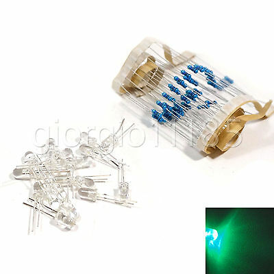 100 pcs LED 3mm Green Water Clear Ultra Bright With Free 12V DC Resistors