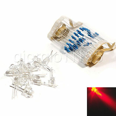 100 pcs LED 3mm Red Water Clear Ultra Bright With Free 12V DC Resistors