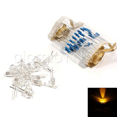 100 pcs LED 3mm Yellow Water Clear Ultra Bright With Free 12V DC Resistors