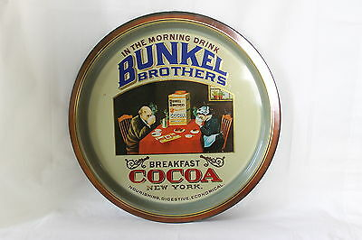 """Vintage English Bunkel Brothers Cocoa Steel Advertising Serving Tray 12 1/2"""""""