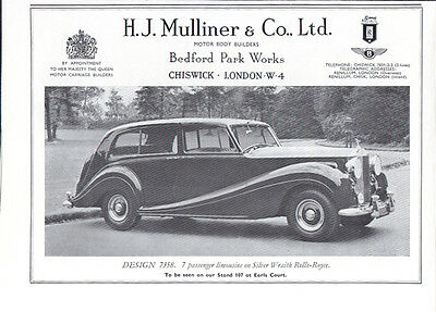 Mulliner limousine Silver Wraith Rolls-Royce ad 1956