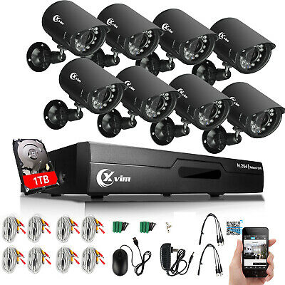 XVIM 8CH 1080N Outdoor Night Vision Home Security Camera System CCTV DVR 1TB HDD