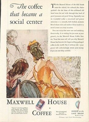 Maxwell House Coffee social center ad 1930