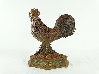 Vintage Door stop rooster Cast iron farm french country Style Antiqued Colour