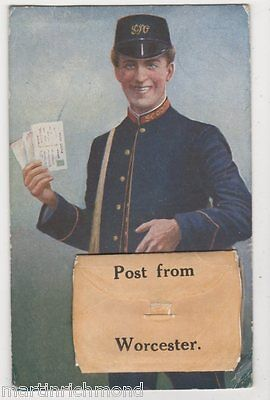 Post from Worcester, Postman Pullout Novelty Postcard, B447