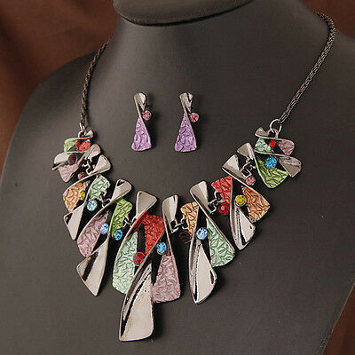 Fashion Women Jewelry Bib Earring Chunky Charm Chain Necklace Choker Set