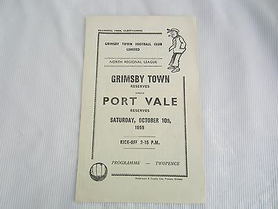 1959-60  NORTH REGIONAL LEAGUE  RESERVES GRIMSBY TOWN v PORT VALE