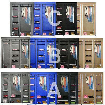 Folding Wardrobe Wardrobe Foldable Clothes Storage Camping Cupboard Steel Pipe