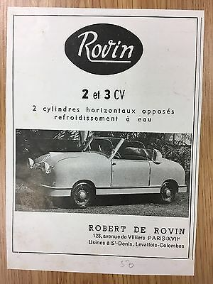 RARE 1951 ROBERT DE ROVIN 2 & 3 CV Vintage Small B&W Car Advert L2