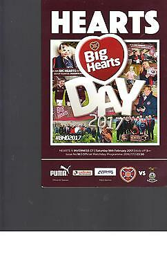 PROGRAMME - HEARTS v INVERNESS CALEDONIAN THISTLE - 18 FEBRUARY 2017