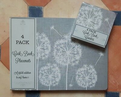 New Set Of 4 Stylish Grey Dandelion Clock's Table Place Mats & Coasters