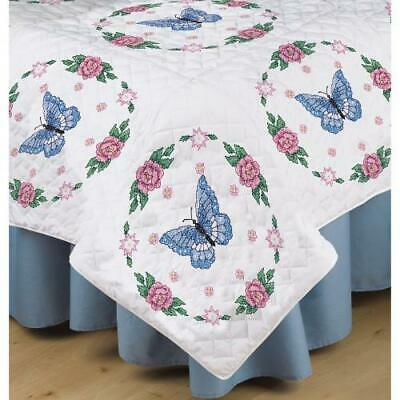 """""""Stamped White Quilt Blocks 18""""""""X18"""""""" 6/Pkg-Butterfly Rose"""""""