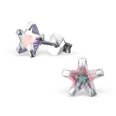 Quality 925 Sterling Silver Earrings - AB Lavender CZ Star Studs 6mm - Boxed