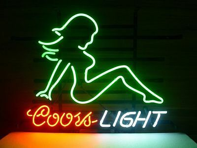 """Coors Light Mud Flap Girl Real Glass Neon Light Sign Home Beer Bar Sign 20""""x16"""""""