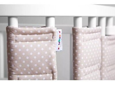 Bumpsters by HippyChick Safest Cot Bar Bumpers Stone and White Polka Dot X 9