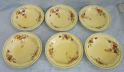"Set Six Vintage Taylor Smith and Taylor Yellow 7"" Old Salad Cereal Bowls FREE SH"