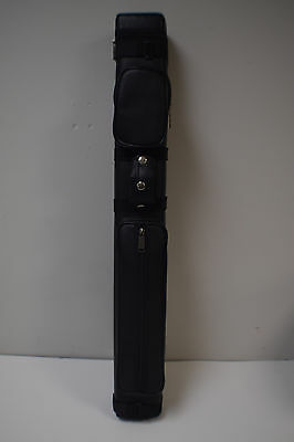 J&J Black Smooth Leatherette Hard Pool Cue Case 3x6 - Pre-owned
