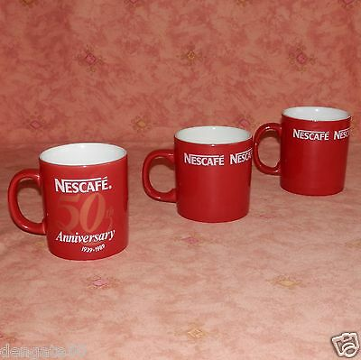 "NESCAFE 3.5"" (APPRX.) HIGH COFFEE MUGS x 2 PLUS A 50TH ANNIVERSARY ONE (D12)"