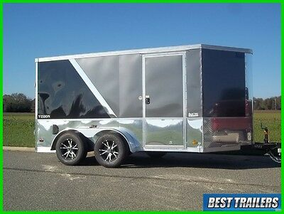 2017 7 x 12 finsihed motorcycle enclosed double bike trailer cargo loaded new