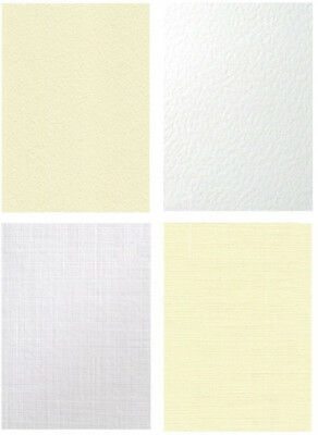 A4 & A3 HAMMER & LINEN TEXTURED 300gsm THICK CARD IVORY & WHITE 50 & 100 SHEETS