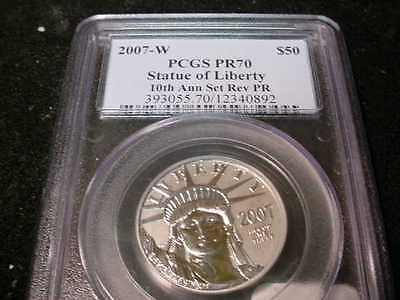 2007-W $50. Platinum Reverse Proof Pr70
