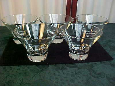 5 Decorative Designed Clear Glass Footed Dessert Bowls/Glasses