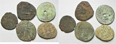 ZURQIEH -aa3174- ARAB-BYZANTINE LOT OF 5 AE COINS AS FOUND