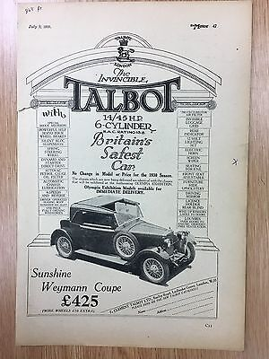 Rare 1929 TALBOT Weymann Coupe A4 Vintage B&W Car Advert L8