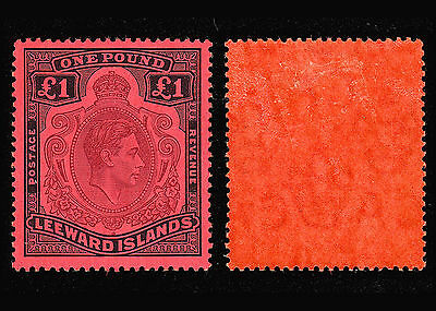 Leeward Islands KGVI 1938 £1 brown-purple & black/red P14 fine MH SG 114 CV £375