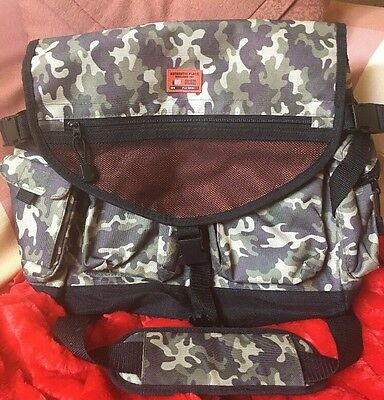 Camoflage Army Green Book Bag by Authentic Place Shoulder Strap Orange Lining