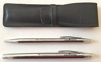 """concorde"" Cross Fountain Pen And Ballpoint Pen Set With Leather Case, Rare"