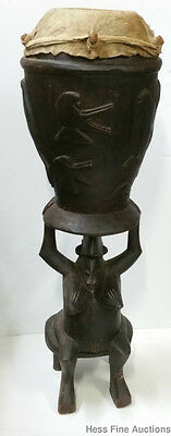 Antique African Carved Woman Wooden Ceremonial Drum Pinge Senufo Coast