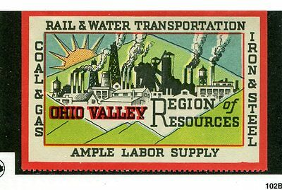 Vintage Poster Stamp Label  OHIO VALLEY Resources coal gas iron steel
