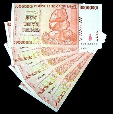 5 x Zimbabwe 50 Billion Dollar banknotes-paper money currency-About UNC