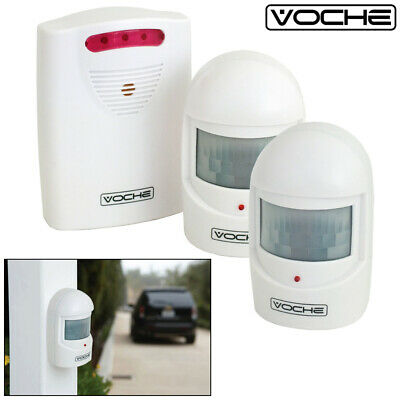 VOCHE® WIRELESS DRIVEWAY GARAGE HOME SECURITY ALERT ALARM 2 x PIR MOTION SENSORS