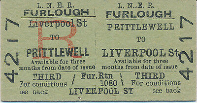 LNER - PRITTLEWELL to LIVERPOOL St. railway ticket 4217