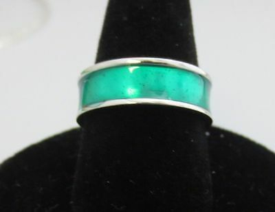 6.5Mm 14Kt White Gold Ep Stackable Green Enamel Eternity Ring Size 12