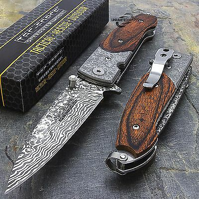 """7"""" DAMASCUS STYLE SPRING ASSISTED TACTICAL FOLDING KNIFE Blade Pocket Wood"""