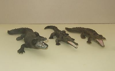 3 Schleich Wild Animal Figures - Crocodile, Alligator & Gharial