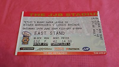 Wigan Warriors v Leeds Rhinos 2004 Used Rugby League Ticket