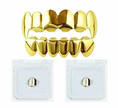 Fang Grillz 18k Gold Plated Top & Bottom teeth + 2 free gold tooth caps bling