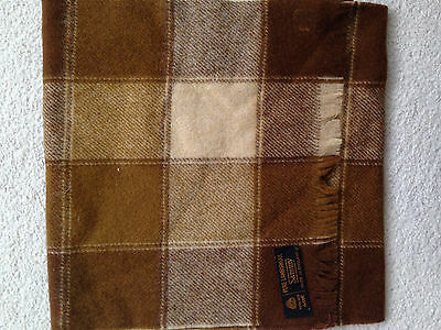Mens Brown Checked Lambswool Scarf Bnip