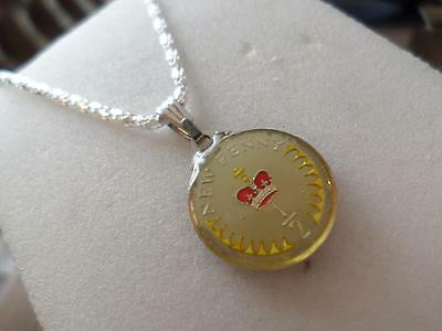 Vintage Enamelled 1971 Half Penny Coin Pendant & Necklace. Great Birthday Gifts