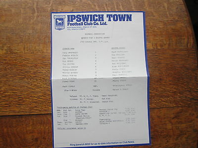 IPSWICH TOWN RESERVES v BRISTOL ROVERS RESERVES 17TH OCTOBER 1981