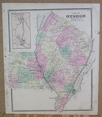 1868 Atlas Map of the Town of Otsego (NY) color